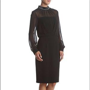 Adrianna Papell Sparkle Detail Crepe Sheath Dress